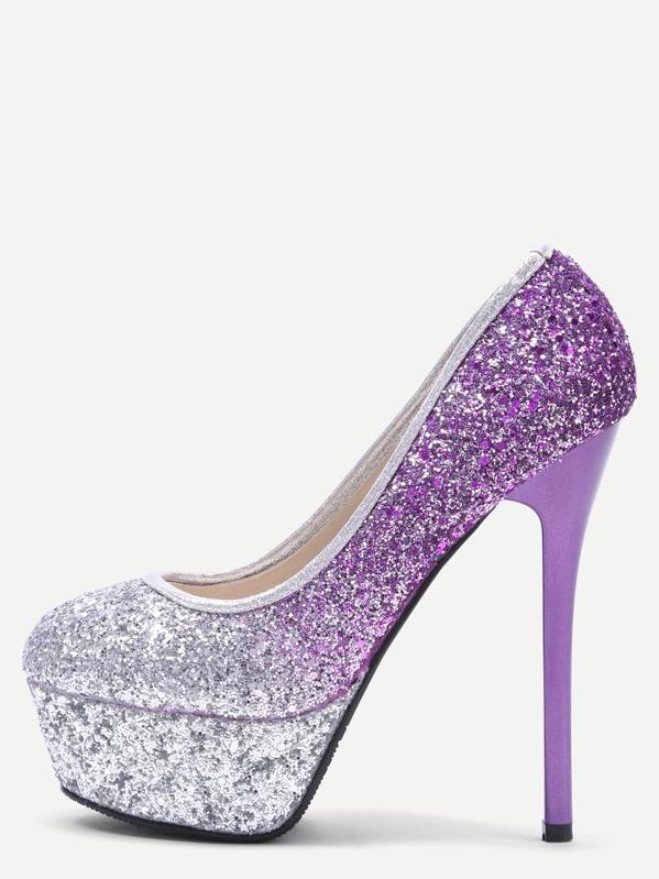 3885aaf9893 Zapatos de salón con purpurina con plataforma - plateado y violeta   SHEIN  ES