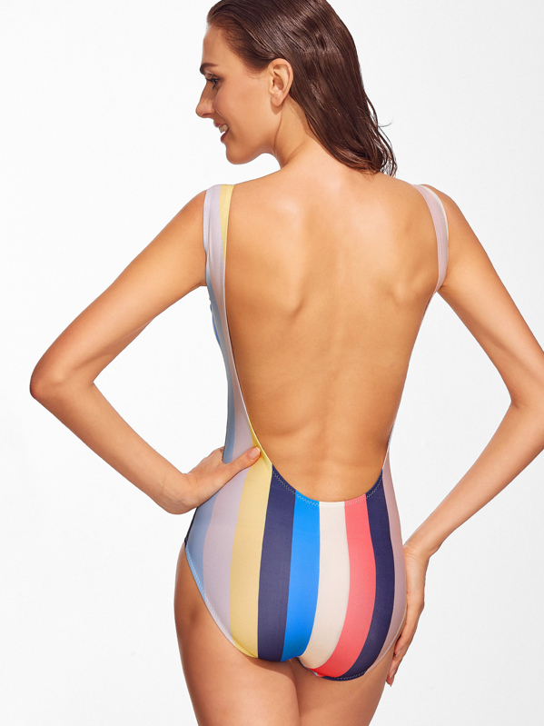 7b023ecb27 Striped Backless One-Piece Swimwear | SHEIN
