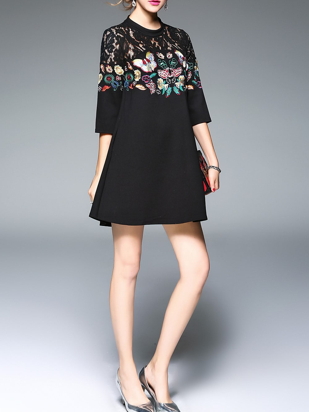 Black sheer butterfly embroidered shift dress shein