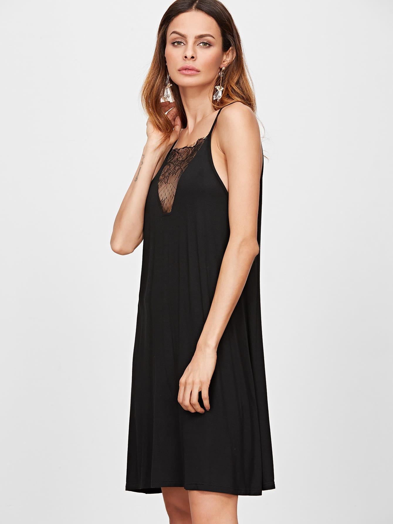 swing cami kleid v ausschnit blumen spitze schwarz german shein sheinside. Black Bedroom Furniture Sets. Home Design Ideas
