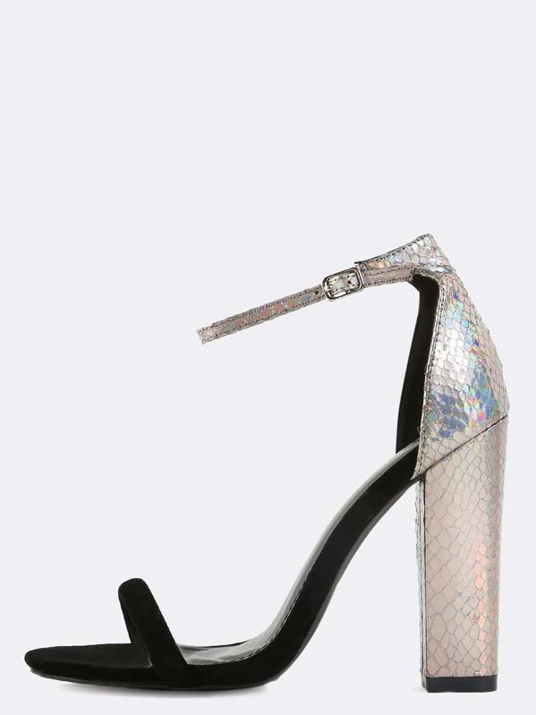 22a61aa8c6 Holographic Snake Chunky Heels BLACK | SHEIN UK