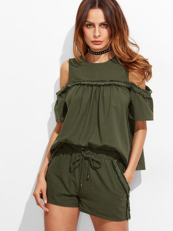 e01e7e299b Olive Green Frayed Lace Trim Cold Shoulder Babydoll Top