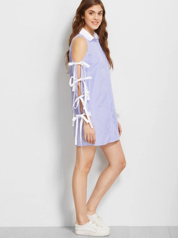8f56163bb14 Blue And White Striped Bow Tie Split Sleeve Shirt Dress
