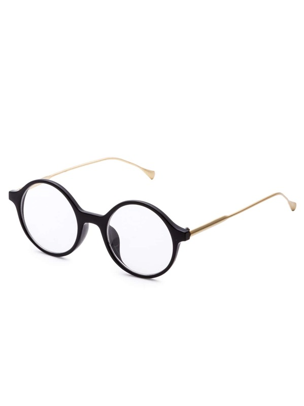 11d9a2fd399 Black and Gold Frame Clear Lens Round Sunglasses -SheIn(Sheinside)