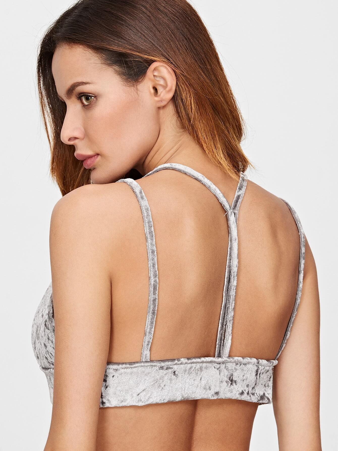 Grey Velvet Y Back Bralet
