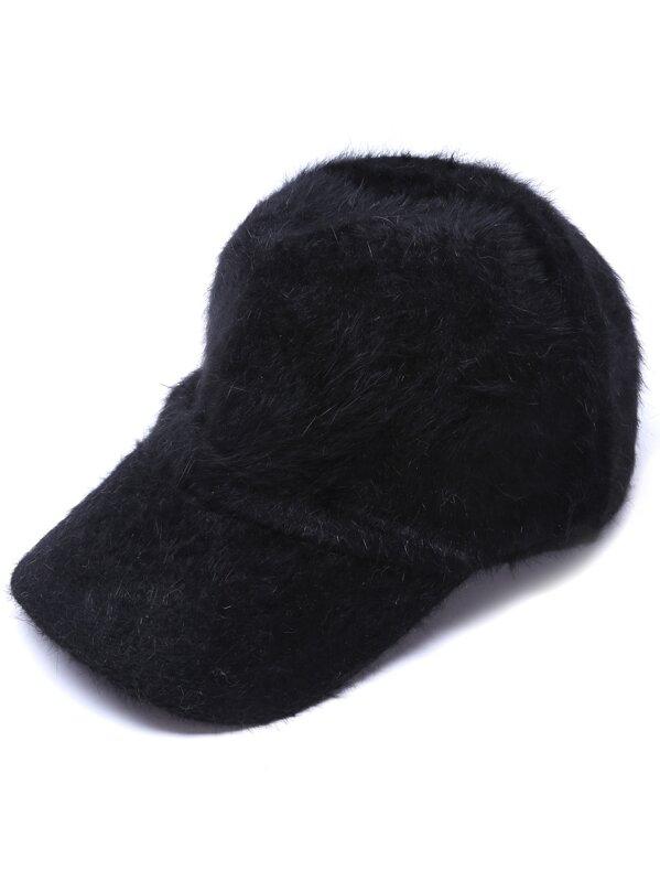 Black Rabbit Hair Fuzzy Warm Baseball Cap  45284d0a302