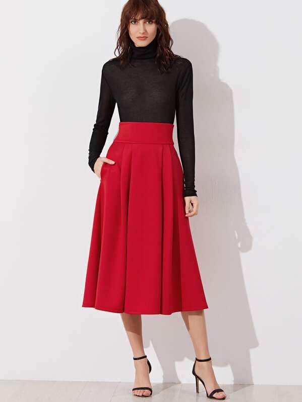 2fdaf9de56 Falda plisada con cintura ancha - rojo