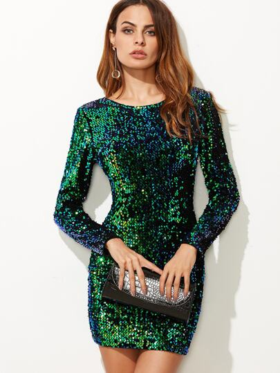 37f32cda03 V Back Sequin Bodycon Mini Dress