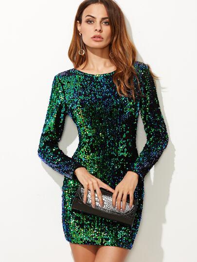 V Back Sequin Bodycon Mini Dress   SHEIN IN