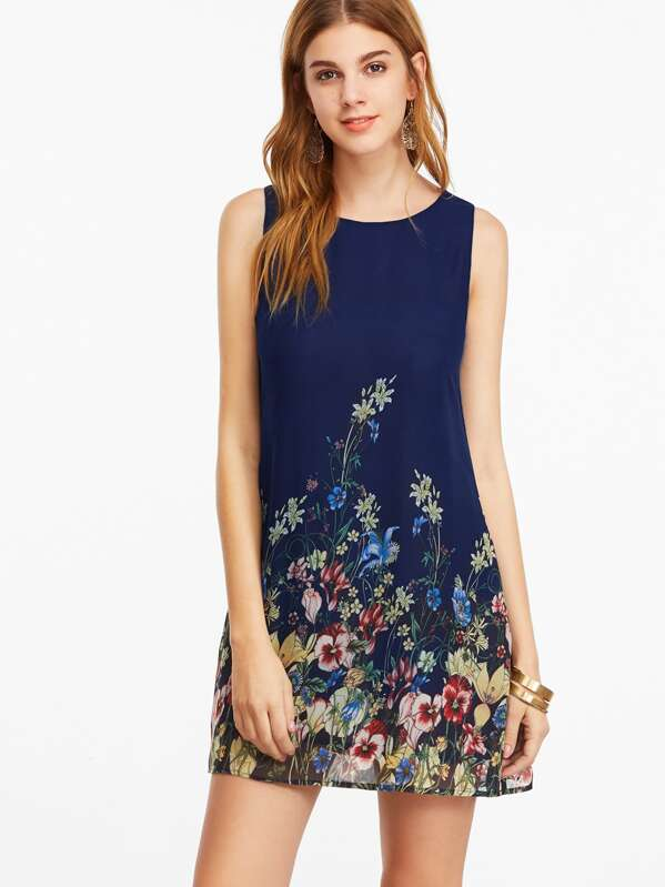 8d66aff2eb Buttoned Keyhole Back Flower Tank Dress | SHEIN