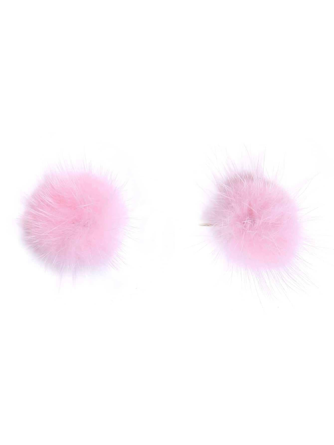 Pink Pom Pom Stud Earrings