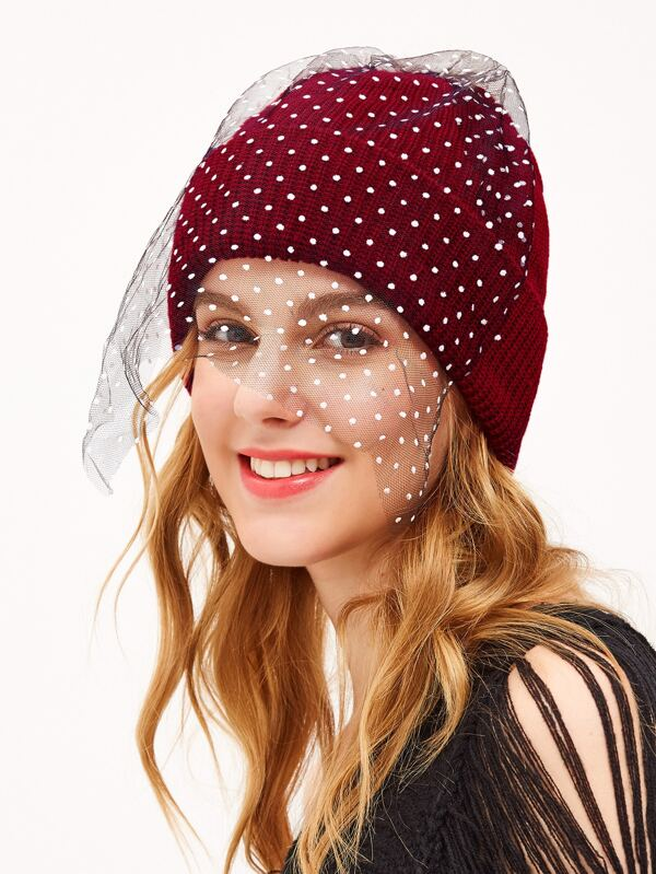 65fea93de52 Red Pom Pom Ribbed Knit Hat with Polka Dot Mesh -SheIn(Sheinside)