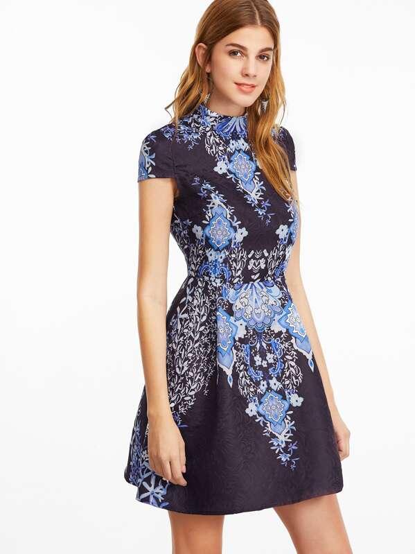 ac48e9cf7b58 Floral Print Cap Sleeve Structured Jacquard Dress | SHEIN