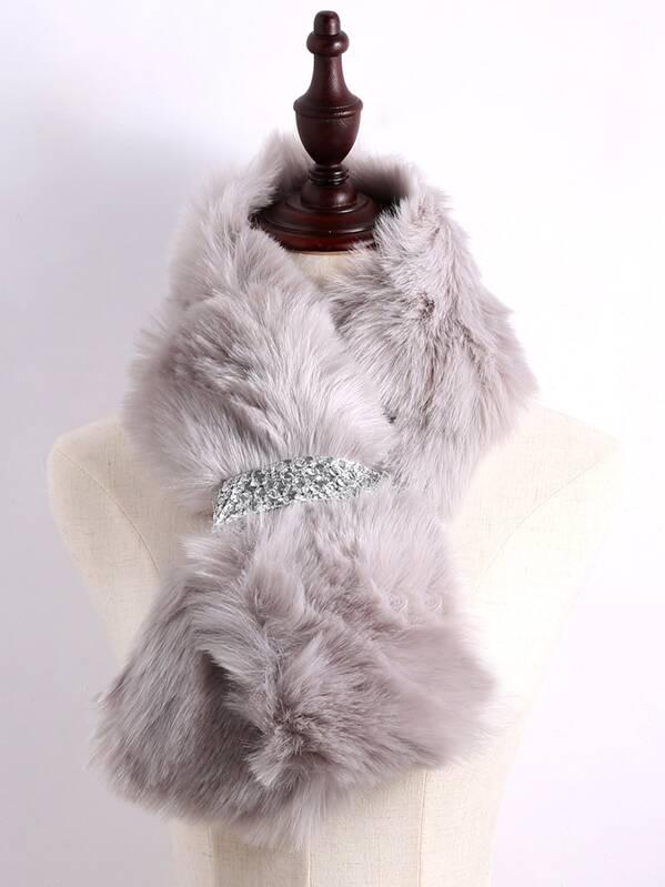 Echarpe en fausse fourrure gris avec ceinture en sequin - argenté -French  SheIn(Sheinside) fbc25df6244