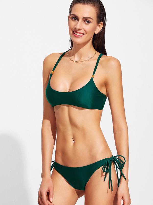 De OscuroShein Es Sets Espalda Con Verde Bikini Cruzada Tiras kOXZiuTP