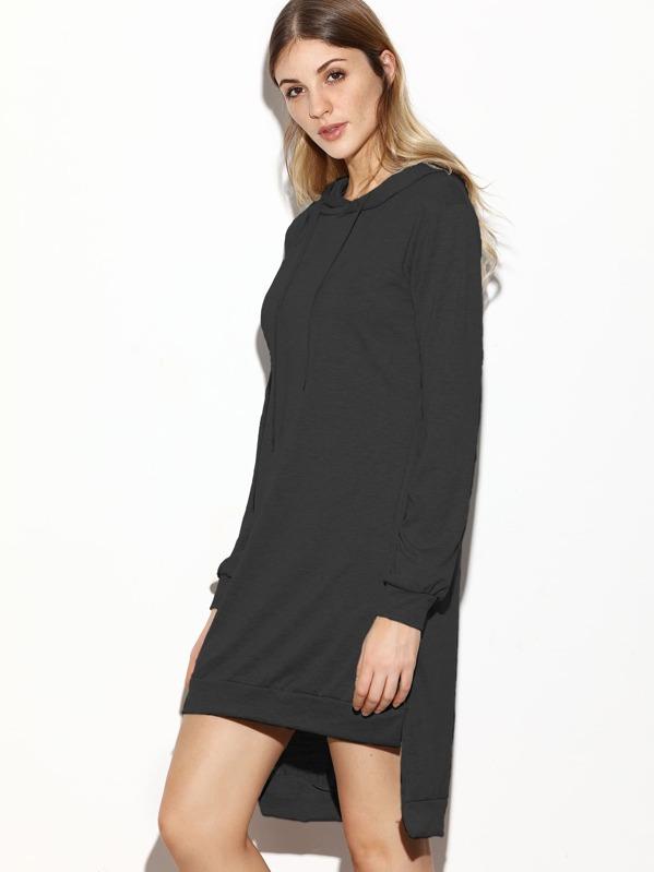 857c6e0a030f39 Sweatshirt Kleid mit Kapuzen Schlitz Seitlich Vorne Kurz Hinten Lang-schwarz  | SHEIN