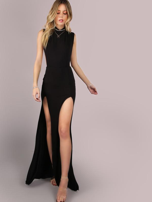 Schwarz modische Maxi-Kleid mit Ausschnitt- German SheIn(Sheinside)