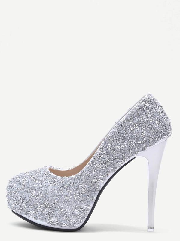 55e3f69b Zapatos de salón con purpurina - gris | SHEIN ES