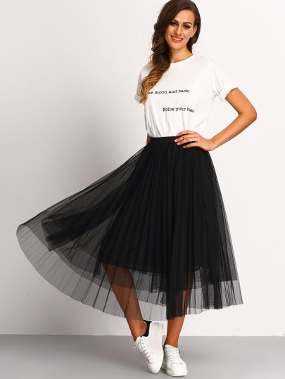c2a67663b40c jupe taille élastique plissé -Noir
