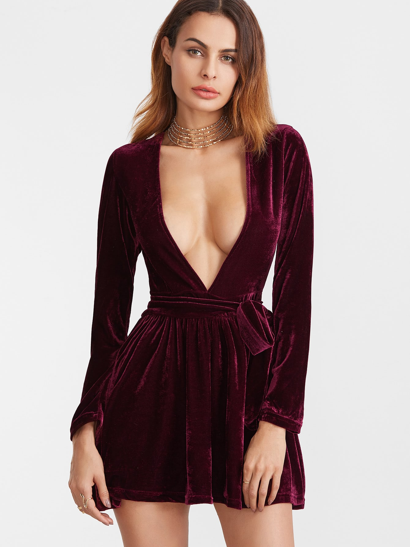 dress with low v neck