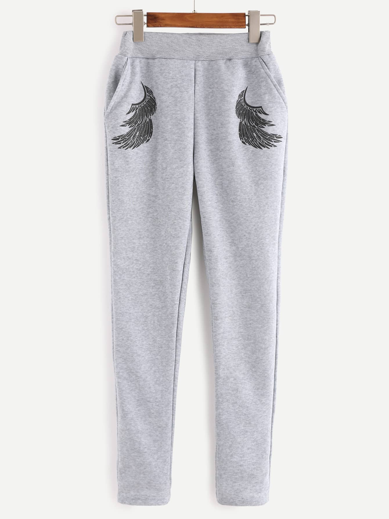 17c3f26bcc Grey Angel Wings Print Sweatshirt With Pants | SHEIN