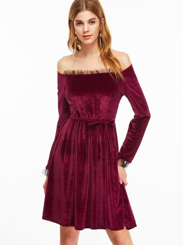 8a777d5872d4 Burgundy Off The Shoulder Contrast Mesh Velvet Dress -SheIn(Sheinside)