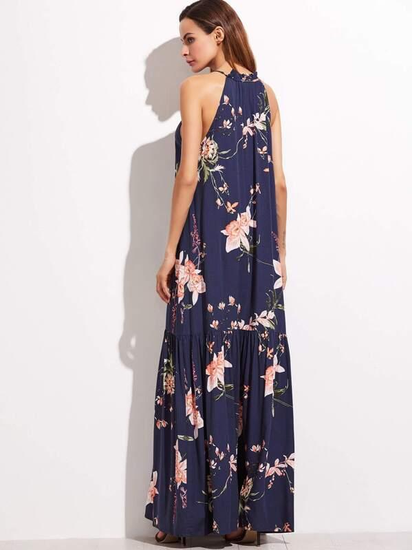 7bb499b06ed Robe longue imprimé fleur imprimé floral bleu marine