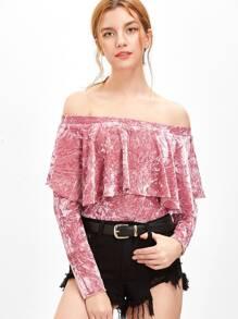 8650c3af93 Pink Ruffle Off The Shoulder Crushed Velvet Bodysuit