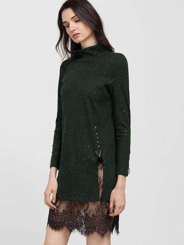 3972ad49d5d76 Contrast Eyelash Lace High Slit Sparkle Dress   SHEIN