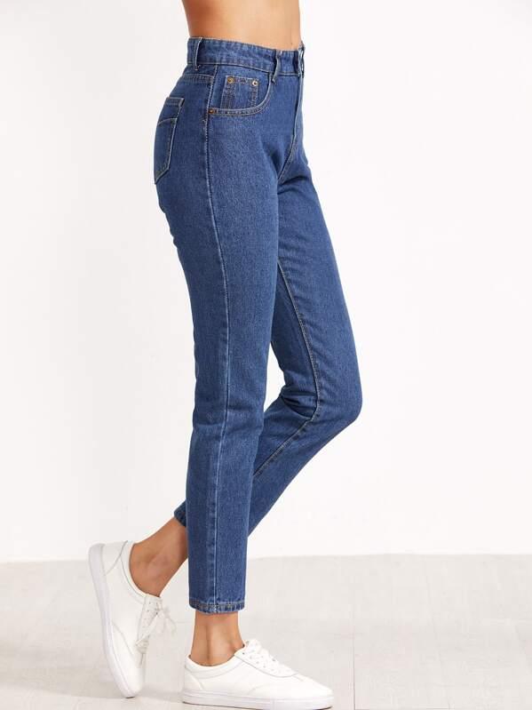 7910176278a29 pantalon taille haute en denim - bleu | SHEIN