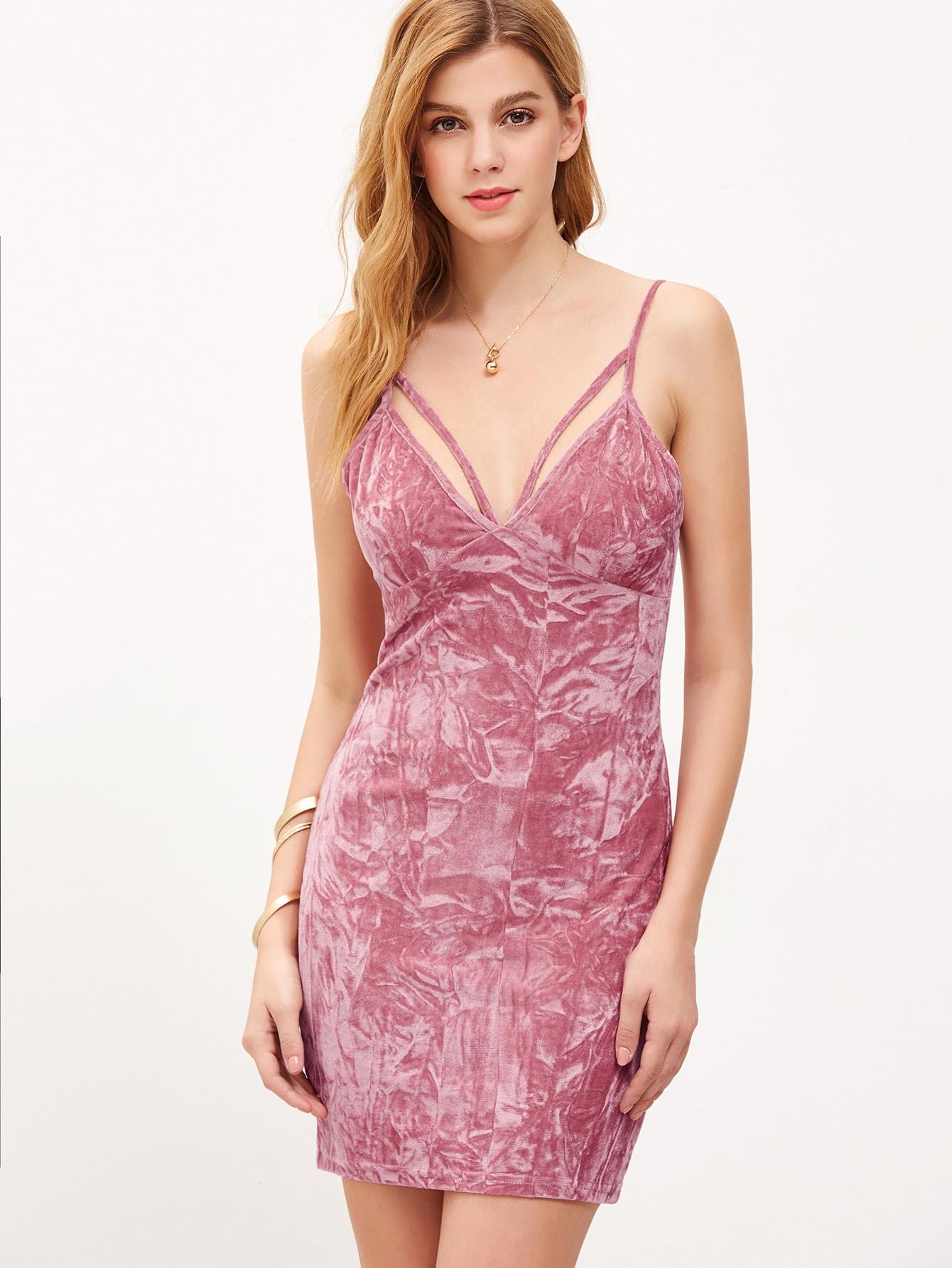 Vestido de terciopelo escote V profundo con tirantes - rosa-Spanish ...