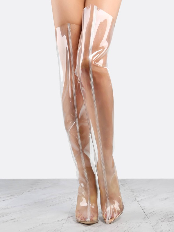 82e0b3c2aee Pointy Toe Transparent Thigh High Boots ROSE GOLD