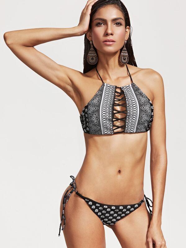 9ef2fb49f32096 Cheap Black Tribal Print Criss Cross Bikini Set for sale Australia | SHEIN