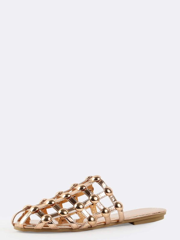 Gold Beaded Rose Net Metallic Sandals PXkiuZ