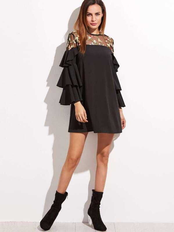 7234b618e Vestido de malla encaje floral con manga de volantes - negro