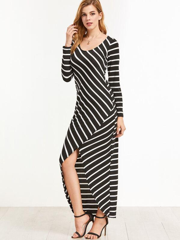 8221977120 Black Striped Dip Hem Dress -SHEIN(SHEINSIDE)