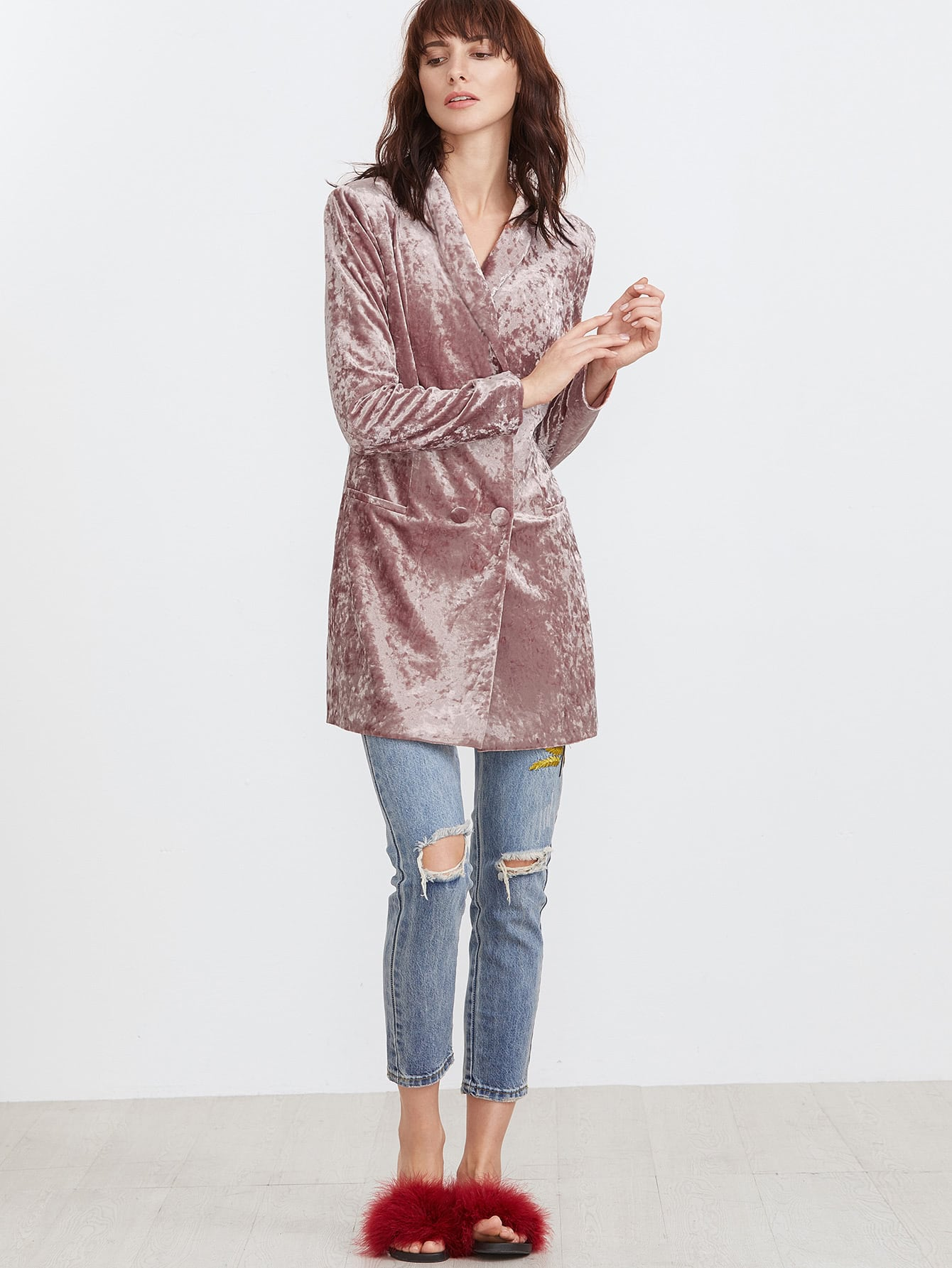 Pink Shawl Collar Double Breasted Longline Crushed Velvet Blazer
