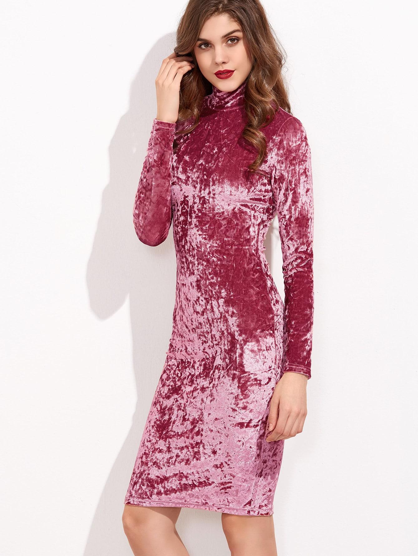 Vestido de terciopelo con cuello alto - rosa-Spanish SheIn(Sheinside)