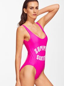 160af78022 Cheap Hot Pink Letter Print Low Back One-Piece Swimwear for sale Australia  | SHEIN