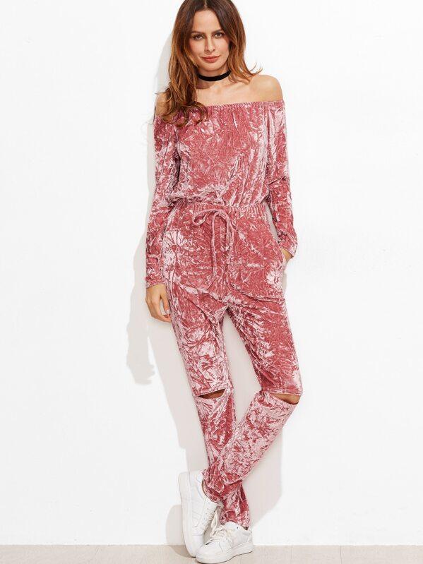 8bf5d73b7ffc Pink Off The Shoulder Knee Ripped Crushed Velvet Jumpsuit