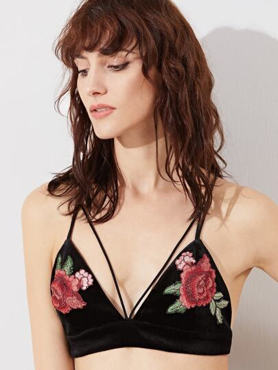 Black Embroidered Rose Applique Crisscross Velvet Bralet