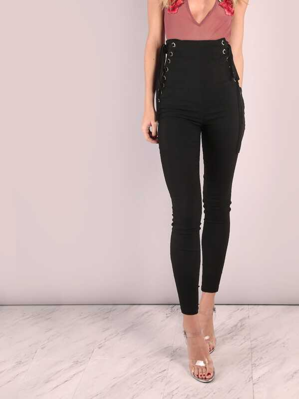 36e1d454d3 High Waisted Eyelet Strap Skinny Trousers | SHEIN UK