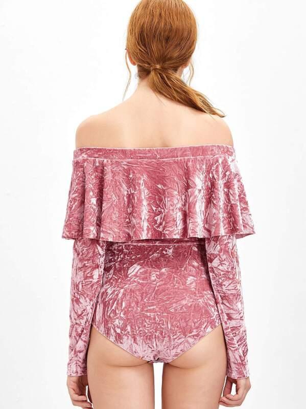 39d170a6a7 Pink Ruffle Off The Shoulder Crushed Velvet Bodysuit -SheIn(Sheinside)