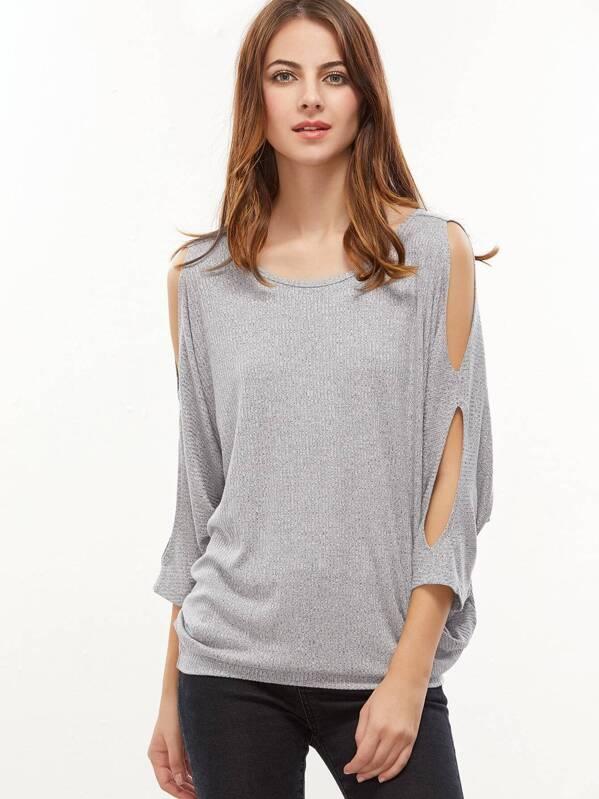 1bd5b19d93 Heather Grey Cutouts Dolman Sleeve Tied V Back T-shirt | SHEIN UK