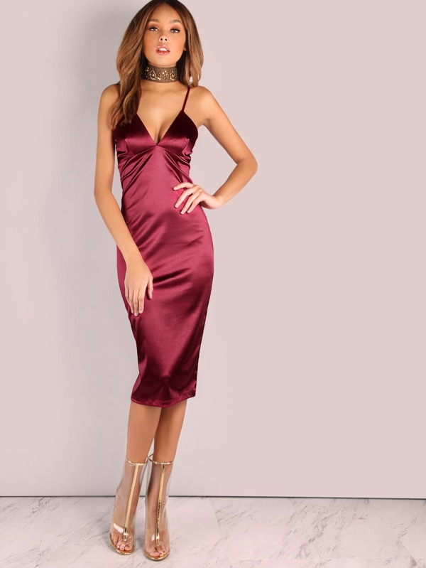 Tiefer V Satin Bodycon Midi Kleid WEIN- German SheIn(Sheinside)