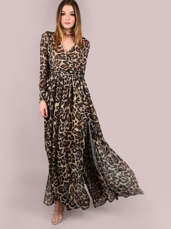 8b5848f75d Leopard Print Surplice Chiffon Maxi Dress | SHEIN