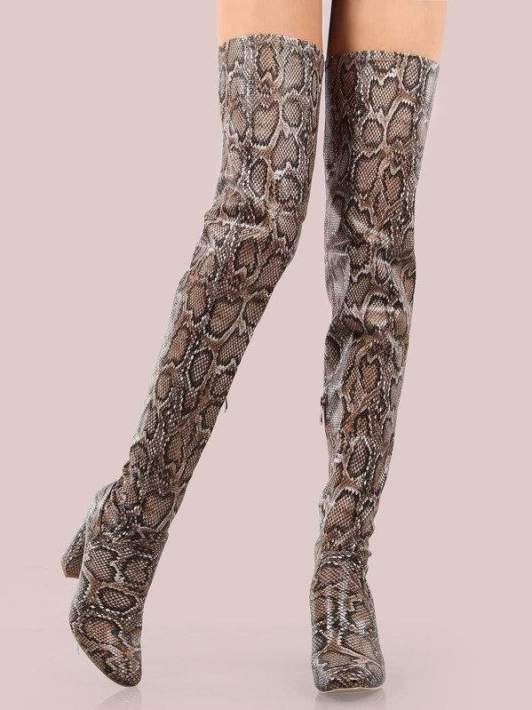 7b9a61f33324 Faux Snake Skin Thigh High Boots SNAKE -SheIn(Sheinside)