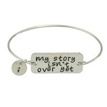 Silver Color Letters Printed Bracelets Bangles
