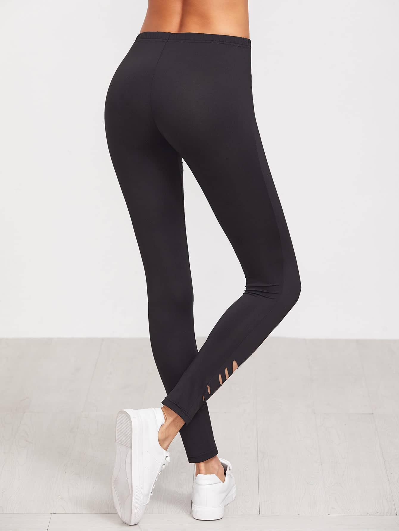 pantalon noir avec trou french shein sheinside. Black Bedroom Furniture Sets. Home Design Ideas