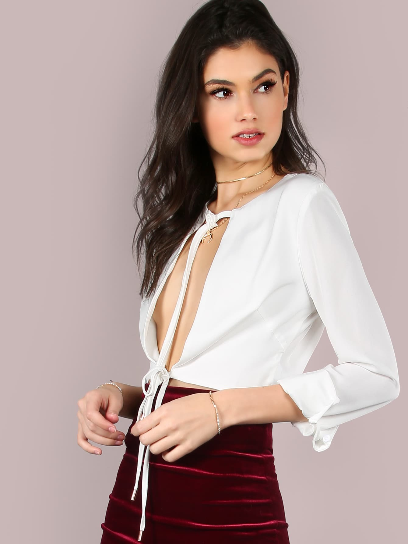 Open Front Tie Sleeved Top OFF WHITE -SheIn(Sheinside)